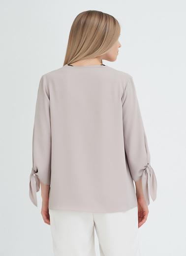 Gusto Kadın Taş Kolları Bağcıklı  Bluz 20YG001515 Taş